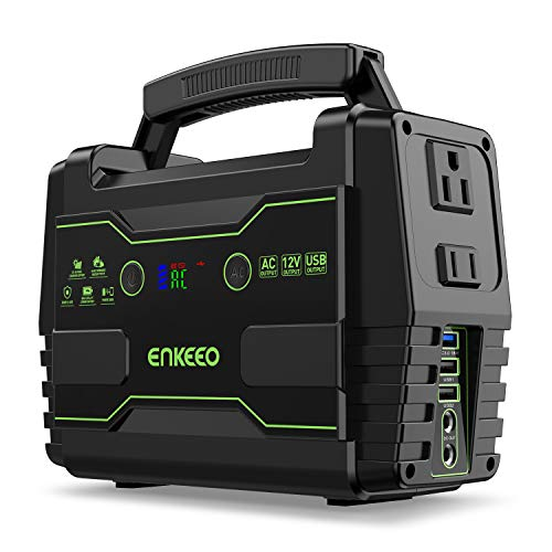 ENKEEO Power Station 155 Wh Portable Charger Lithium Backup Battery Pack 110V 100W Solar Generator (Solar Panel Optional) AC Outlet USB DC Supply for Outdoors Camping Travel Fishing Hunting Emergency