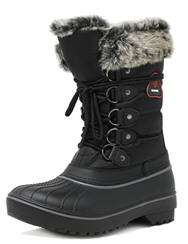 DREAM PAIRS Women's DP-Canada Black Faux Fur Lined Mid Calf Winter Snow Boots Size 9 M US