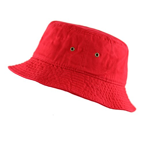 THE HAT DEPOT Youth Kids Washed Cotton Packable Bucket Travel Hat Cap (4-6yrs, Red)]()