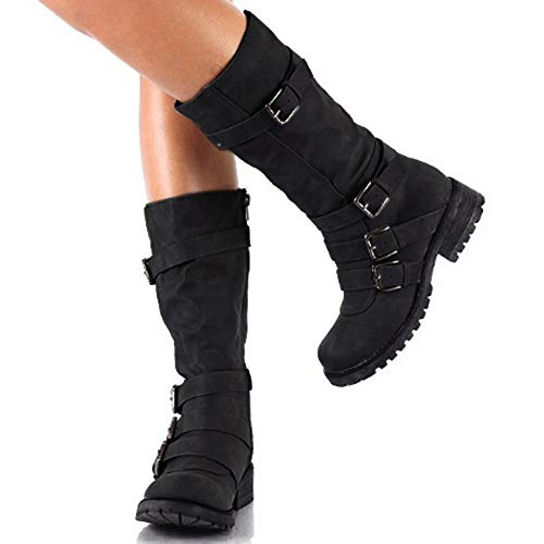 Hunleathy Women's Mid Calf Boots Buckles Combat Riding Boots Size 8 Black by Hunleathy (Image #6)