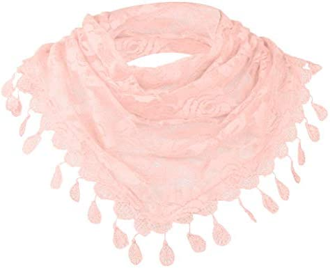 Fashion Triangle Scarf Soft Lace Hollow Rose Floral Summer Collar Neck Scarves
