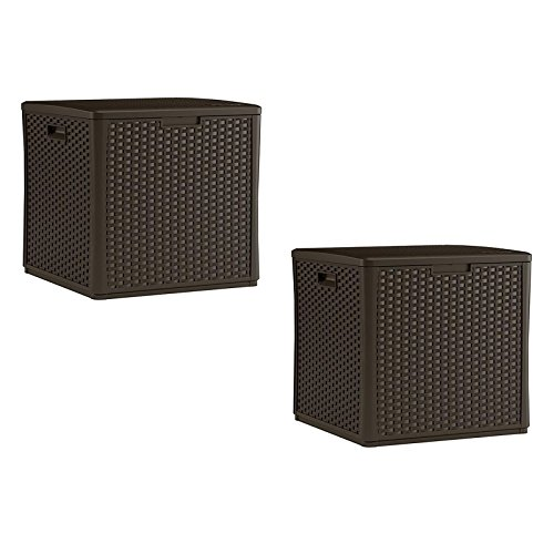 Suncast Pool Box Deck (Suncast 60 Gallon Resin Wicker Design Cube Shape Storage Deck Box, Java, 2 Pack)