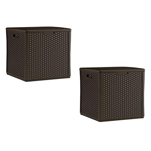 Box Deck Pool Suncast (Suncast 60 Gallon Resin Wicker Design Cube Shape Storage Deck Box, Java, 2 Pack)