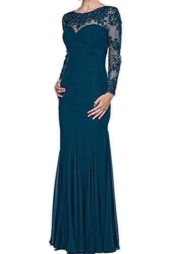 Langarm Kleider Trumpet mia Perlen Damen Abendkleider Braut La Schwarz Tinte Brautmutterkleider Chiffon Ballkleider Blau Figurbetont dIqvx7Sx