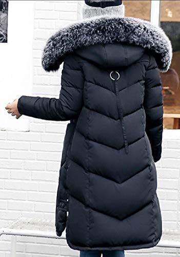 Warm Zipped Womens Outwear Button Hooded Jackets Black TTYLLMAO Coat Down Parka wqaZB7U
