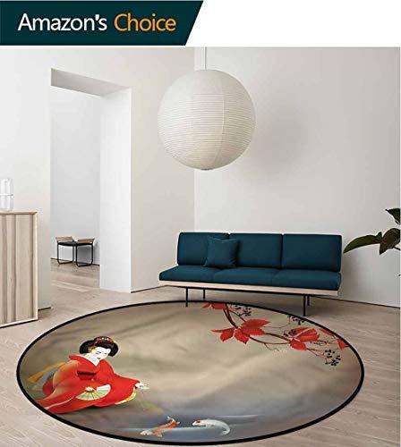 (RUGSMAT Koi Fish Modern Washable Round Bath Mat,Geisha Woman Autumn Leaves for Home Decor Bedroom Kitchen Etc Round-71)
