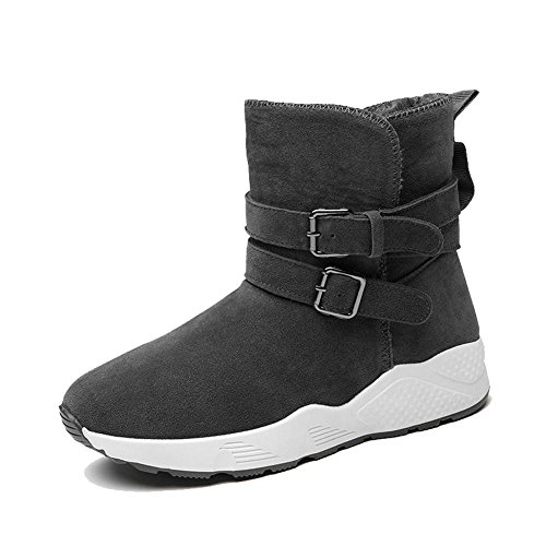 wdjjjnnnv Women Boots Short Tube Thick Flat Heel Warm Casual Ankle Sports Cotton Shoes GRAY-35 SOml6X