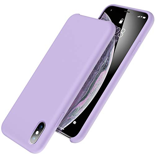 UGT iPhone Xs Max Case, Liquid Silicone Rubber Slim Shockproof Case Microfiber Cloth Lining Compatible with Apple iPhone Xs Max 6.5 inch, Lavender