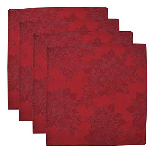 """The Big One Christmas Cloth Dinner Napkins 18x18"""" Set of 4 Machine Washable Red Embossed Poinsettia Holly Berry Print"""