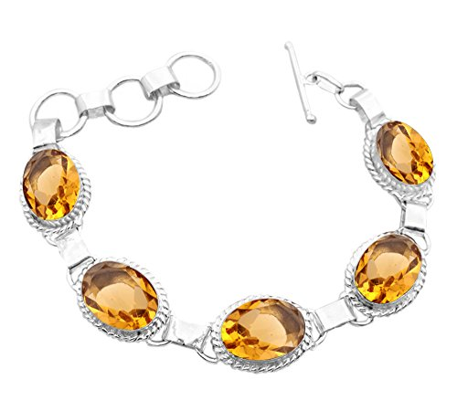 11.50Gms,7.80 Ctw Genuine Citrine Quartz 925 Sterling Silver Overlay Handmade Fashion Bracelet Jewelry
