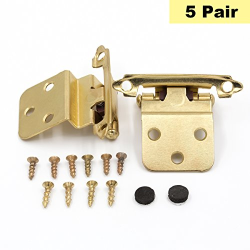 """Gold Self-Closing Cabinet Hinges Face Mount 3/8"""" Inset - Peaha SCH38BB Decorative Brushed Brass Hinges for Kitchen Cabinet 5 Pair"""