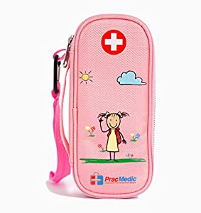 PracMedic EPIPEN Case for Girls, Insulated - Holds 2 Epi Pens or Auvi-Q, Asthma Inhaler, Generic Benadryl Small, Nasal Spray, Eye Drops, Medicine, Syringes, or Ice Pack- Sold Empty