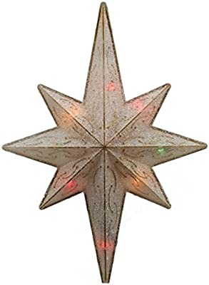 Sienna Lighted Frosted Gold Bethlehem Star Christmas Tree Topper with Multicolored Lights, 11""