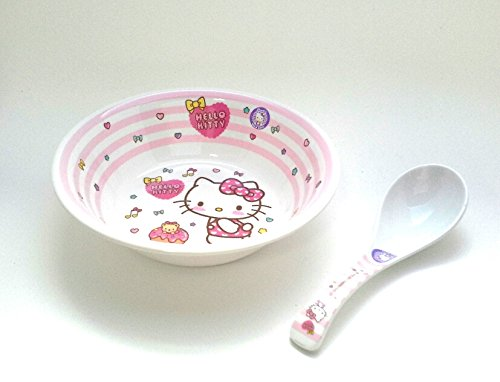 Sanrio Hello Kitty Melamine Soup Bowl with Soup Spoon for kids - Melody Soup