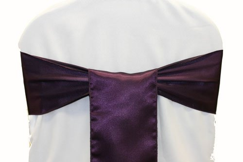 mds Pack of 50 satin chair sashes bow sash for wedding and Events Supplies Party Decoration chair cover sash -Plum