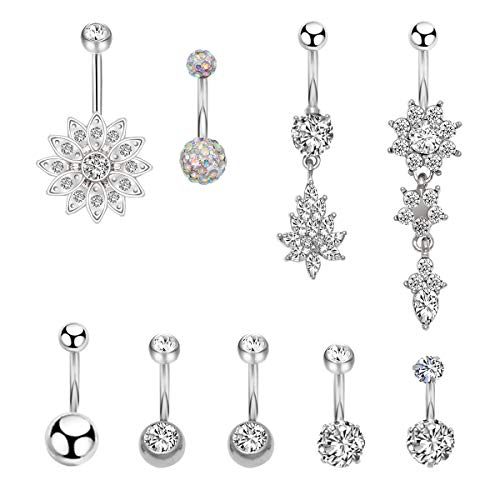 CrazyPiercing 9 Pcs 14G Belly Button Rings, Stainless Steel Dangle Navel Rings, Navel Rings Barbell CZ Body Piercing Jewelry for Women Girls (Silver Tone)