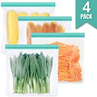 Reusable Sandwich & Snacks Bags, Reusable Ziplock Storage Bags Freezer Safe, Extra Thick PEVA Material BPA/Plastic Free...