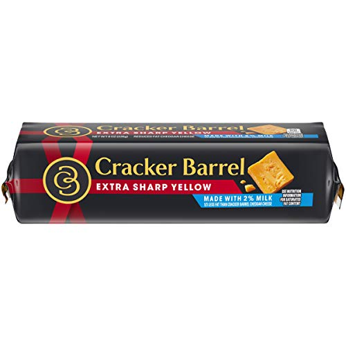 Cracker Barrel Extra Sharp Cheddar Cheese Chunk Made with 2% Milk, 8 oz Wrapper
