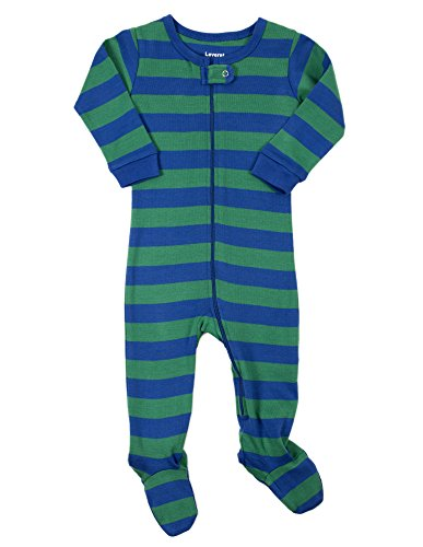 (Leveret Kids Striped Baby Boys Footed Pajamas Sleeper 100% Cotton (Size 6-12 Months, Blue &)
