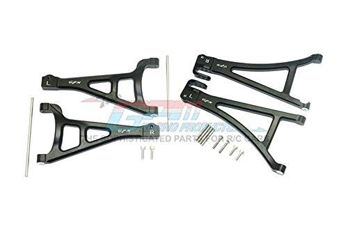 G.P.M. Traxxas E-Revo 2.0 VXL Brushless (86086-4) Tuning Teile Aluminium Front Suspension Arm Set (Upper+Lower) - 4Pc Set schwarz