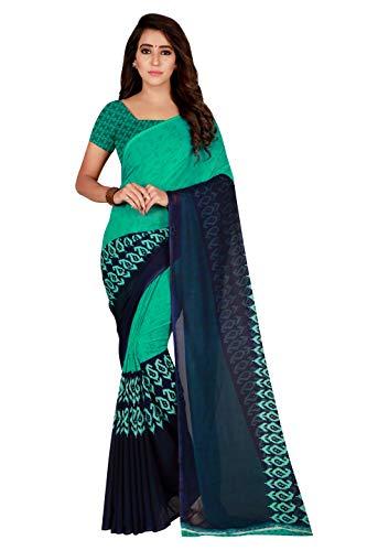 y Wear Georgette Printed Saree Sari (Sea Green) ()