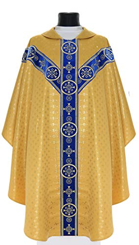 Gold/blue Semi Gothic Chasuble Vestment Y579-AGN61 - Chasuble Brocade
