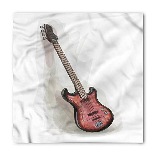 Lunarable Unisex Bandana, Bass Guitar Rock and Roll Motley, Grey Charcoal