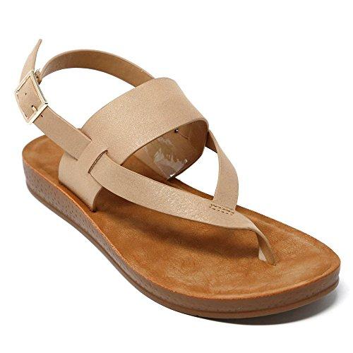 Back Strap Sandal - FLINK Posh Chica Women's Thong Single Band Strap Sling Flat Sandals FRe7, Beige 8.5 B(M) US