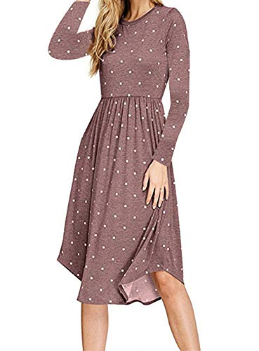 Dresses for Women, Misses Casual Tunic Dress O Neck Long Sleeve Pleated Mid Length Flowy Church Wear Polka Dots Garments Coffee X Large ()