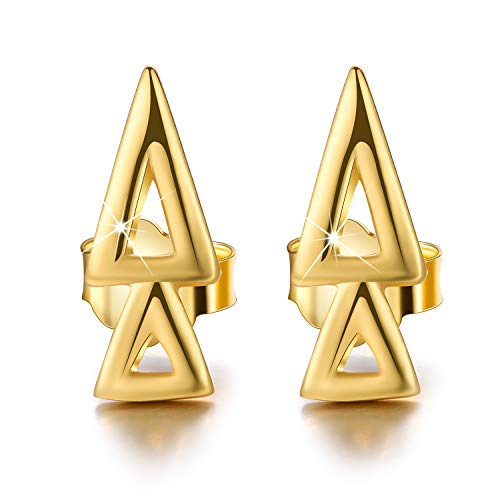 - Esberry 18K Gold Plating 925 Sterling Silver Overlapping Triangles Stud Earrings Geometry Earrings Jewelry for Women and Girls (Yellow Gold-2 Triangles)