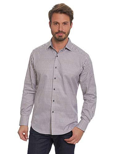 Robert Graham Marion Striped Long Sleeve Woven Sport Shirt Classic Fit Cream XSmall ()