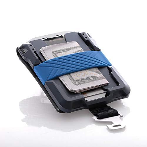 Dango M1 Maverick Blue Line Wallet - CNC-Machined Aluminum, RFID Blocking, Made in USA (Bifold - Black DTEX/Blue)