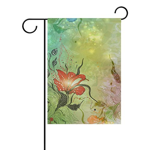 Chic Houses Colorful Flowers Watercolor Painting Outdoor Garden Flags Creative Design Concise Style Vertical Double Sided Home Decorative House Yard Sign 12 x 18 Inch 2030494