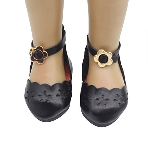 AMOFINY New Cute Hollow Glitter Doll Shoes Dress Shoe DIY Girl Doll For 18 Inch (Black)