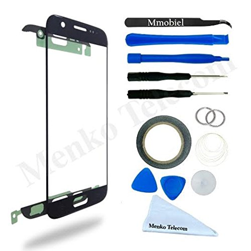 Display for Samsung Galaxy S7 Black screen Glass replacement kit 12 pcs incl tools /precut Sticker / Tweezers / cloth / suction cup / wire MMOBIEL