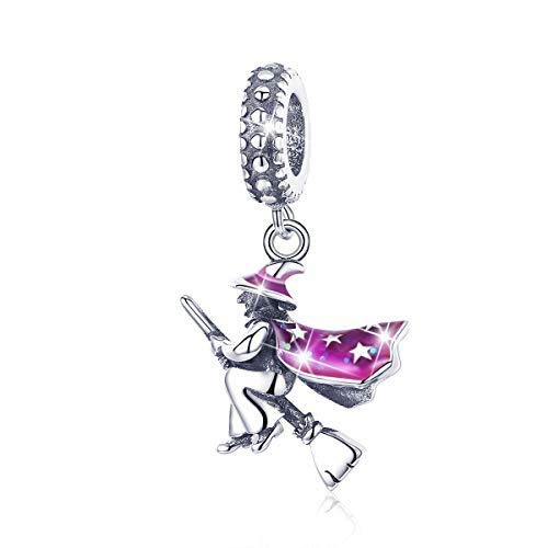 (BAMOER 925 Sterling Silver Halloween Witch Charm Enamel Bead for Bangle)
