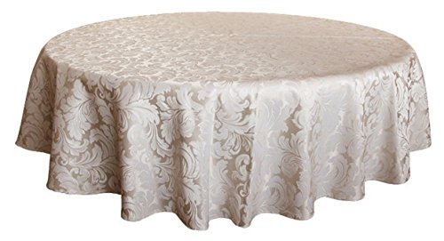Damask Overlays (Tektrum 70 inch Round Damask Jacquard Tablecloth Table Cover - Waterproof/Spill Proof/Stain Resistant/Wrinkle Free/Heavy Duty - Great for Banquet, Parties, Dinner, Kitchen, Restaurant, Wedding (Beige))