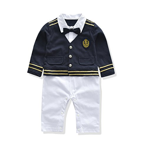 Baby Rompers Boys Navy Uniform And Sailor Style Outfit Jumpsuit Overalls Romper (19-24 Months, Navy -