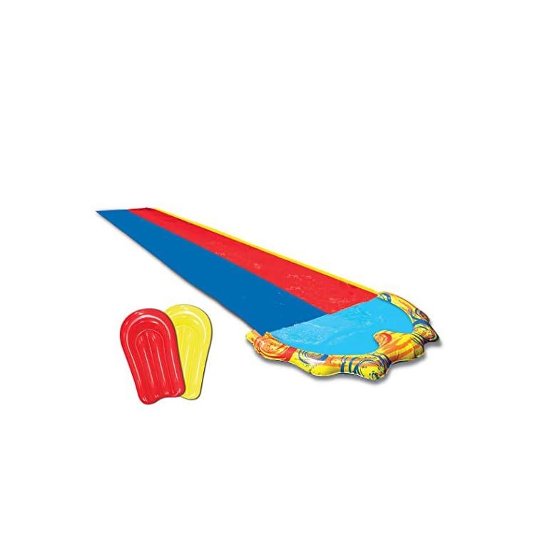 BANZAI 16ft Splash Sprint Racing Water Double Slider Water Slide – With 2 Bonus BodyBoards