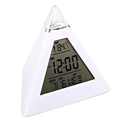 Happy Hours - Pyramid LED Alarm Clock / 7 Color Changing Digital Desk Clock / Natural Sound Thermometer Calendar Clock / Creative Triangle Digital Display Gift For Kids Friend