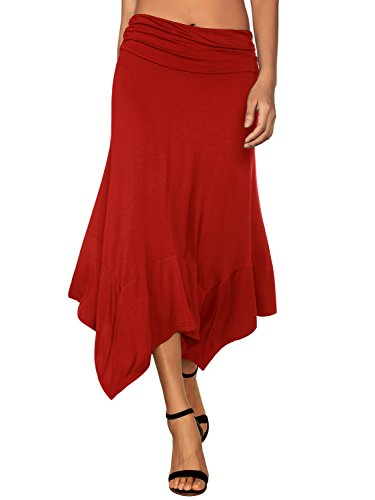 DJT Women's Flowy Handkerchief Hemline Midi Skirt X-Large Red ()