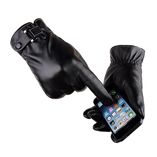 Black Driving Gloves - LAOWWO PU Leather Touchscreen Gloves Driving Gloves Black Winter Warm Gloves