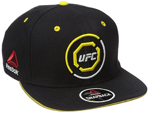 Reebok Cap Embroidered (Reebok UFC Adult Authentic Flat Brim Snapback, One Size, Black/Yellow)