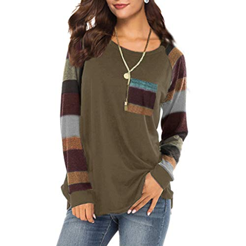 Long Sleeve T-Shirt Women Stripe Sleeve Patchwork Casual Top T-Shirt Loose Long Sleeve Top Blouse Brown