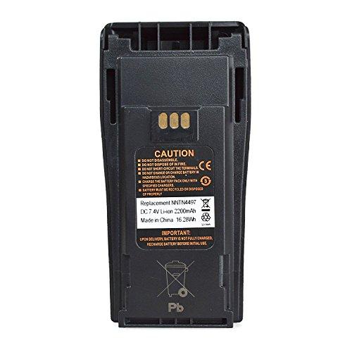NNTN4497 Replacement 7.4 Volts LI-ION 2200 mAh High Capacity Battery for Motorola CP-200 Walkie Talkie CP200 EP450 CP150 CP250 PR400 Replaces NNTN4497CR
