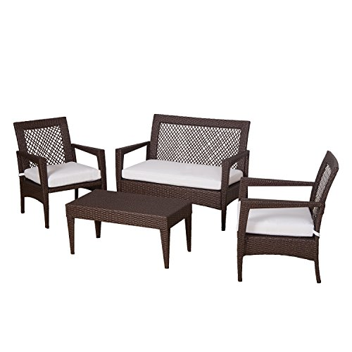 Auro Brisbane Outdoor Furniture | 3 Piece Rattan Patio Set | All-Weather Brown Wicker Bistro Set with 2 Water Resistant Olefin Cushioned Chairs & End Table | Porch, Backyard, Pool, Garden (Off White) (Outdoor Brisbane Furnitures)