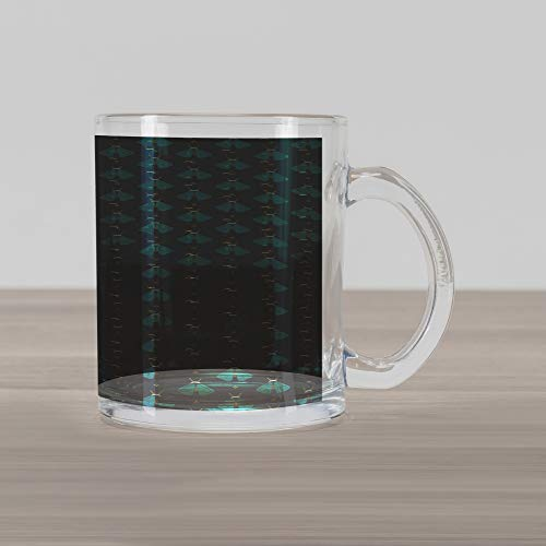 Lunarable Firefly Glass Mug, Minimalist Style Flying Insects with Geometric Wings Antlers and Spots, Printed Clear Glass Coffee Mug Cup for Beverages Water Tea Drinks, Teal Dark Teal Yellow -