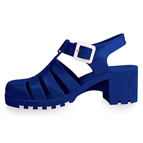 Best Cool Trendy Closed Toe Cute Heel Ankle Strap Sandal Shoe for Teen Girl Junior Women (Navy Size 7)