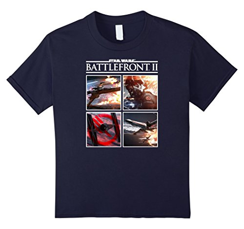 Price comparison product image Kids Star Wars Battlefront II Battle Scene Panels Graphic T-Shirt 8 Navy