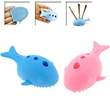 2Pcs Cleaning Makeup Brush Holder, Whale / Fish Shape Cleaner Silicone Washing Brush Scrubber Board Cosmetic Clean Tools, Makeup Brushes Organizer,Sky Blue & Pink Color by DAXUN